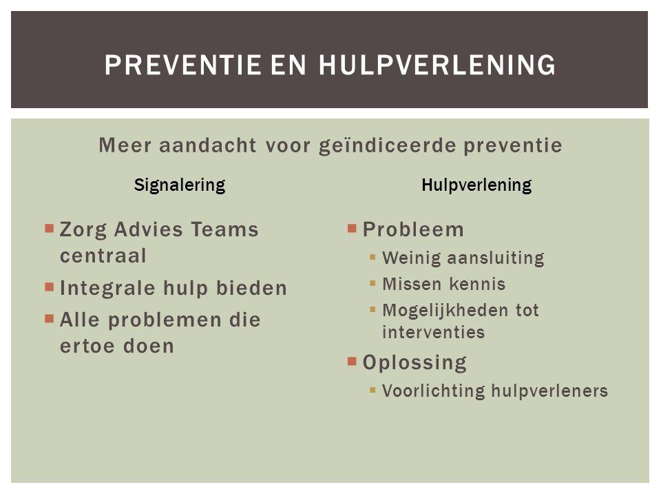 Meer aandacht voor geïndiceerde preventie  Zorg Advies Teams centraal  Integrale hulp bieden  Alle problemen die ertoe doen  Probleem  Weinig aan