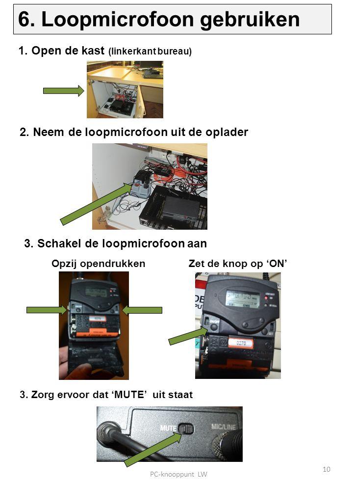 3. Schakel de loopmicrofoon aan 1. Open de kast (linkerkant bureau) 3.