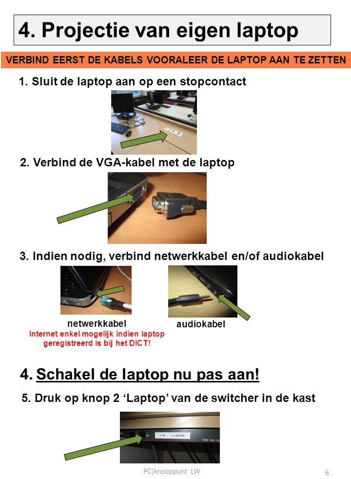 1. Sluit de laptop aan op een stopcontact 2. Verbind de VGA-kabel met de laptop 3.