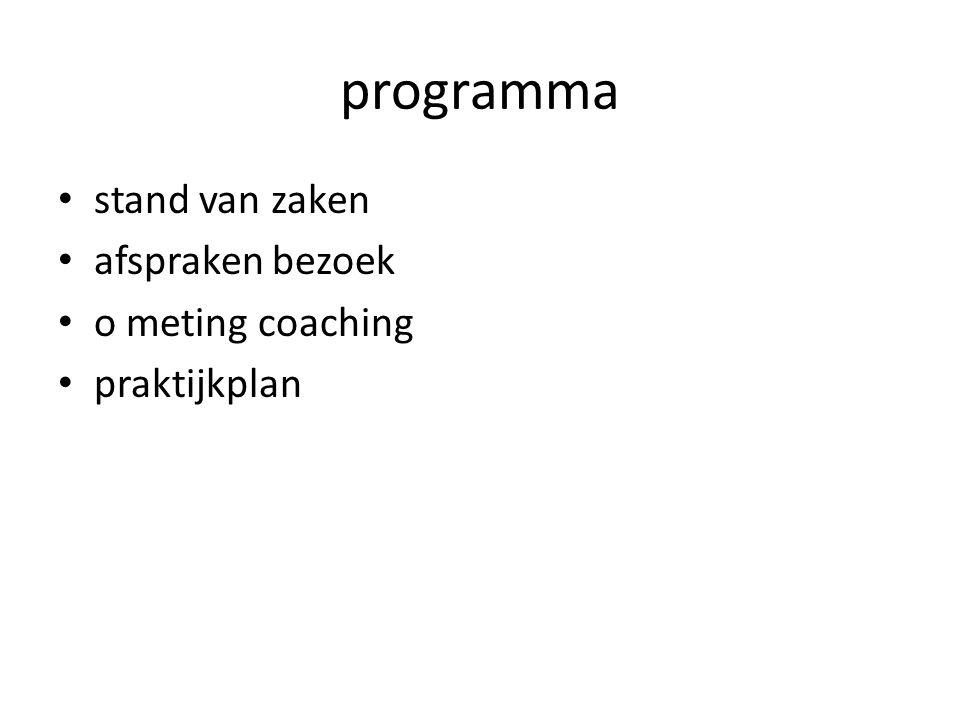 programma stand van zaken afspraken bezoek o meting coaching praktijkplan