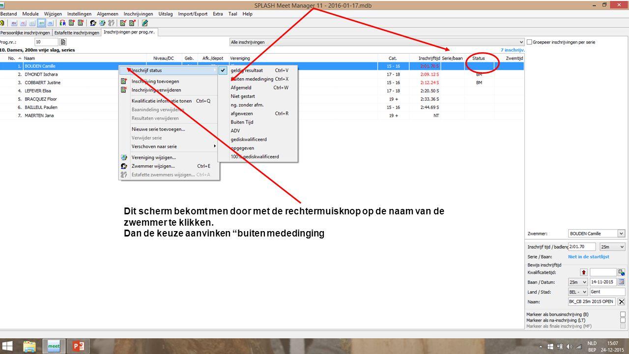 Dit scherm bekomt men door met de rechtermuisknop op de naam van de zwemmer te klikken.