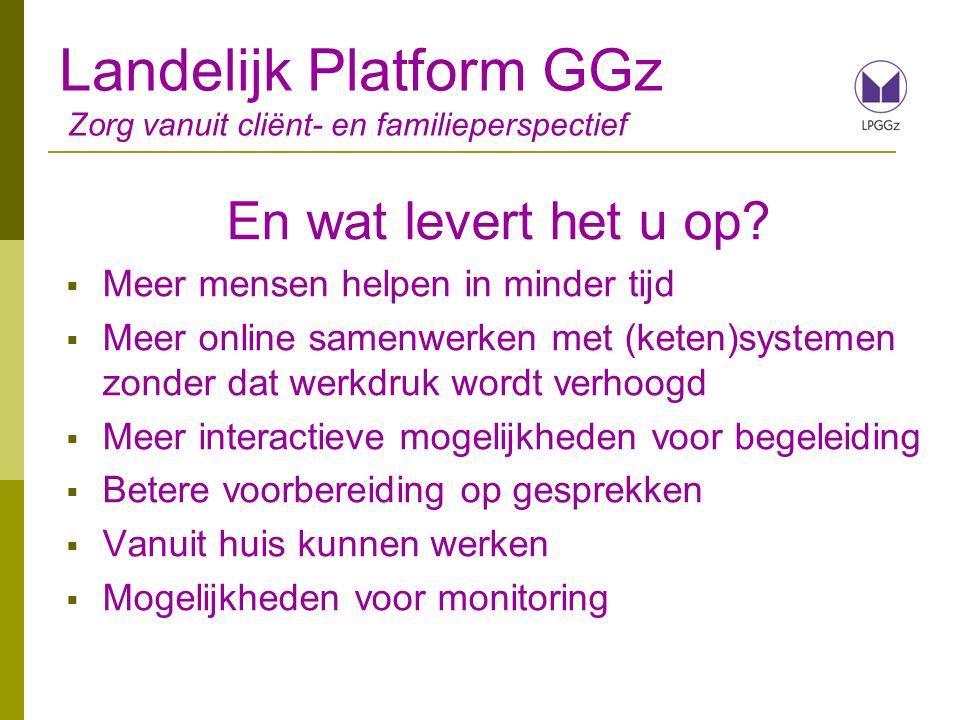 Landelijk Platform GGz Zorg vanuit cliënt- en familieperspectief En wat levert het u op.