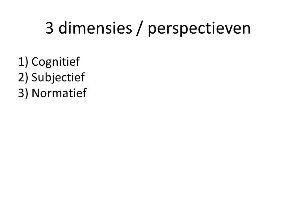 3 dimensies / perspectieven 1) Cognitief 2) Subjectief 3) Normatief