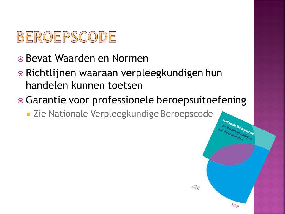  Bevat Waarden en Normen  Richtlijnen waaraan verpleegkundigen hun handelen kunnen toetsen  Garantie voor professionele beroepsuitoefening  Zie Nationale Verpleegkundige Beroepscode