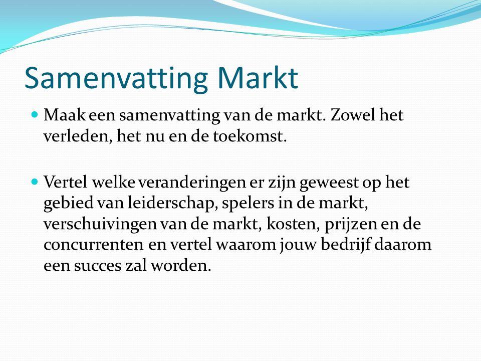 Samenvatting Markt Maak een samenvatting van de markt. Zowel het verleden, het nu en de toekomst. Vertel welke veranderingen er zijn geweest op het ge