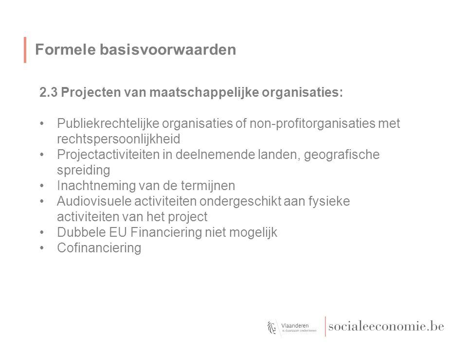 Formele basisvoorwaarden 2.3 Projecten van maatschappelijke organisaties: Publiekrechtelijke organisaties of non-profitorganisaties met rechtspersoonlijkheid Projectactiviteiten in deelnemende landen, geografische spreiding Inachtneming van de termijnen Audiovisuele activiteiten ondergeschikt aan fysieke activiteiten van het project Dubbele EU Financiering niet mogelijk Cofinanciering
