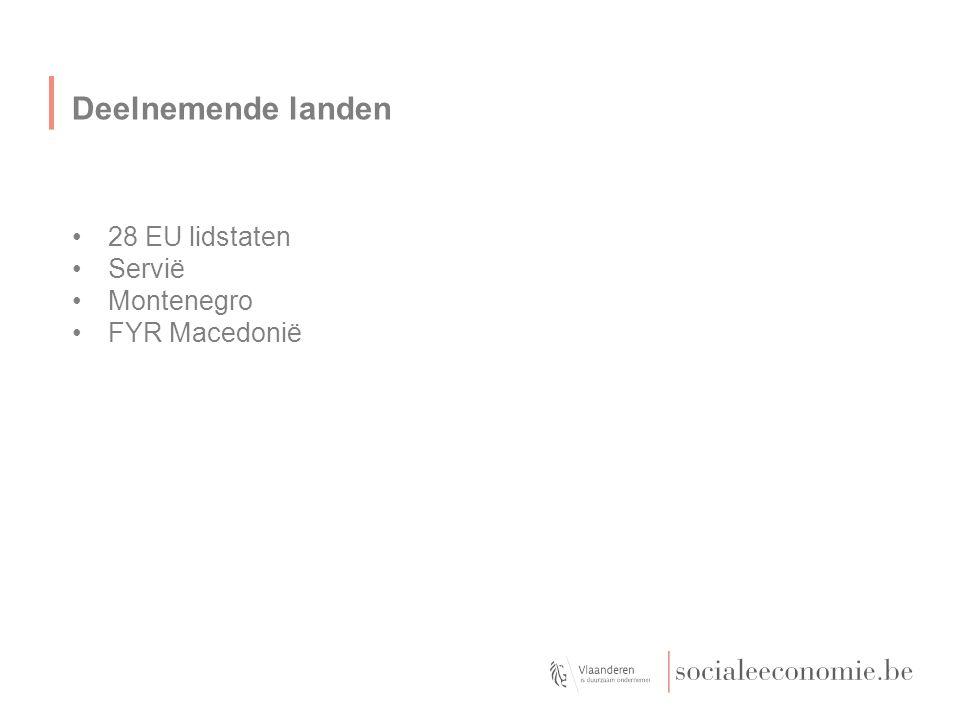 Deelnemende landen 28 EU lidstaten Servië Montenegro FYR Macedonië
