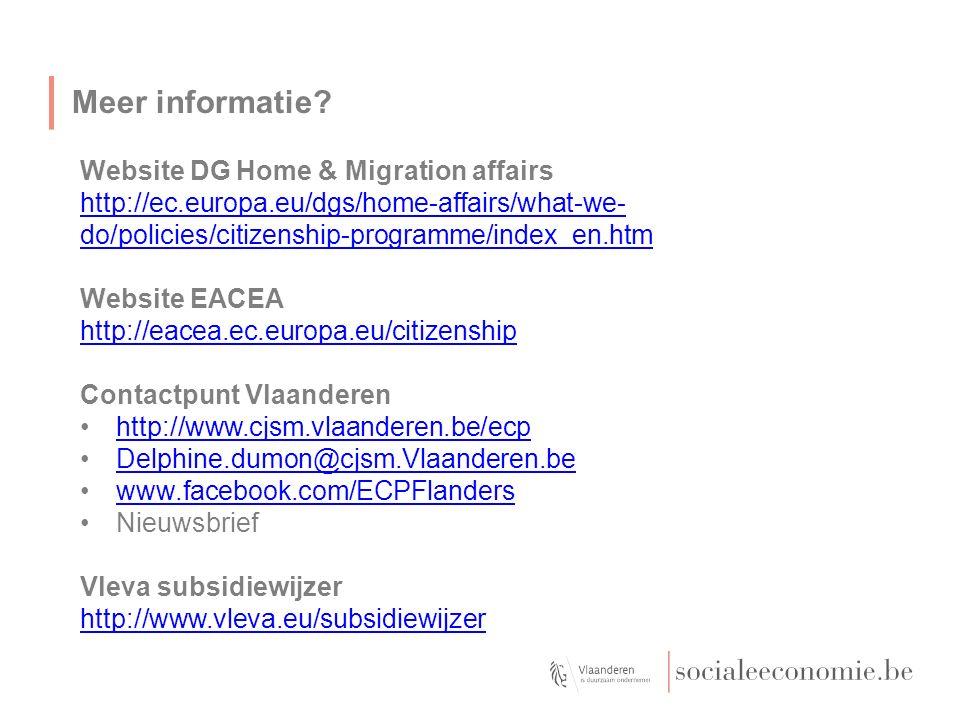 Meer informatie? Website DG Home & Migration affairs http://ec.europa.eu/dgs/home-affairs/what-we- do/policies/citizenship-programme/index_en.htm Webs