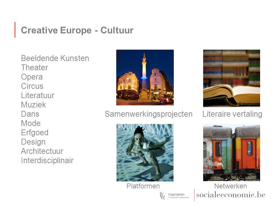 Creative Europe - Cultuur Beeldende Kunsten Theater Opera Circus Literatuur Muziek DansSamenwerkingsprojecten Literaire vertaling Mode Erfgoed Design Architectuur Interdisciplinair Platformen Netwerken
