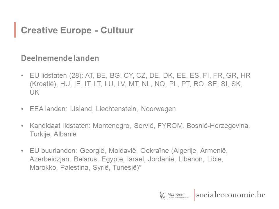 Creative Europe - Cultuur Deelnemende landen EU lidstaten (28): AT, BE, BG, CY, CZ, DE, DK, EE, ES, FI, FR, GR, HR (Kroatië), HU, IE, IT, LT, LU, LV,