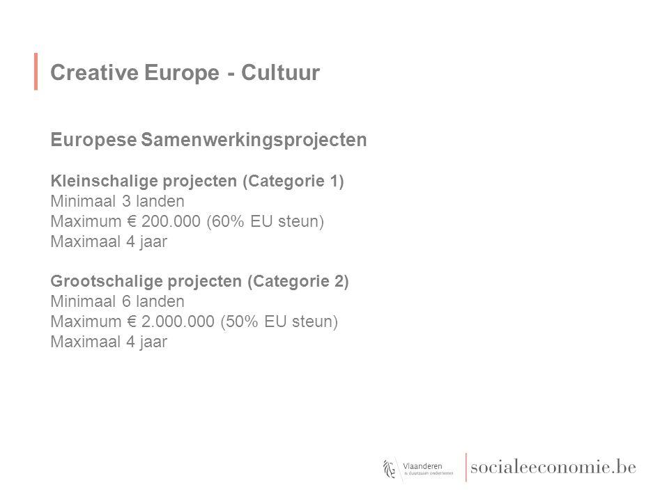 Creative Europe - Cultuur Europese Samenwerkingsprojecten Kleinschalige projecten (Categorie 1) Minimaal 3 landen Maximum € 200.000 (60% EU steun) Max
