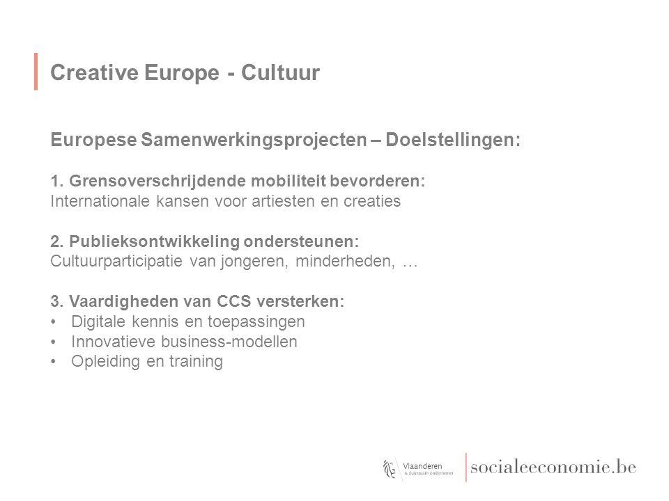 Creative Europe - Cultuur Europese Samenwerkingsprojecten – Doelstellingen: 1. Grensoverschrijdende mobiliteit bevorderen: Internationale kansen voor