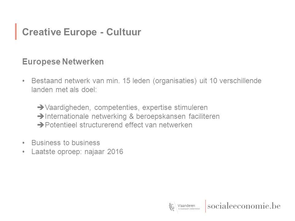 Creative Europe - Cultuur Europese Netwerken Bestaand netwerk van min. 15 leden (organisaties) uit 10 verschillende landen met als doel:  Vaardighede