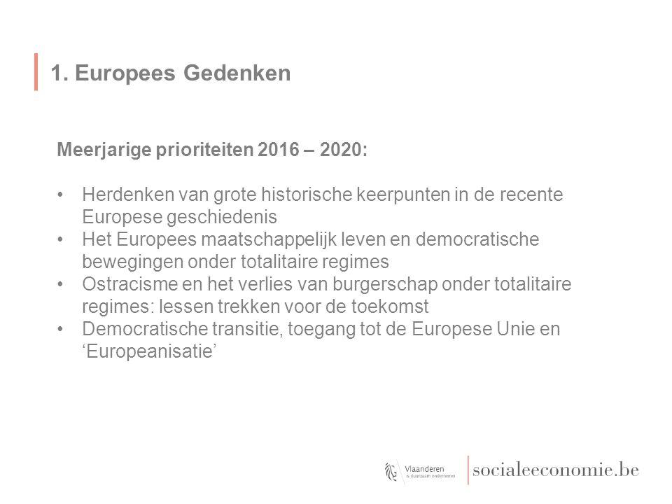 1. Europees Gedenken Meerjarige prioriteiten 2016 – 2020: Herdenken van grote historische keerpunten in de recente Europese geschiedenis Het Europees