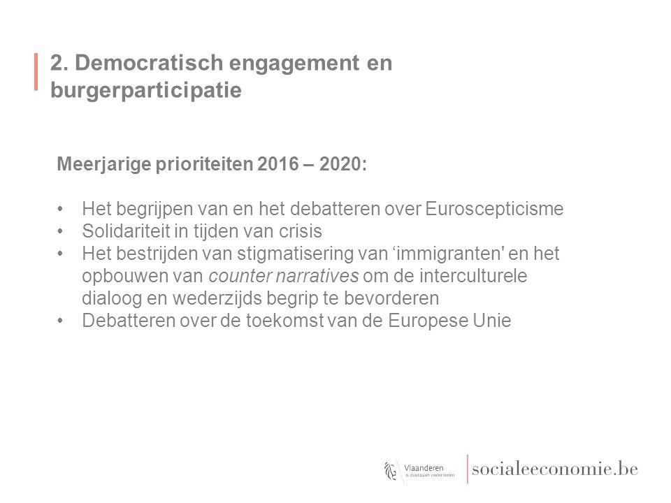 2. Democratisch engagement en burgerparticipatie Meerjarige prioriteiten 2016 – 2020: Het begrijpen van en het debatteren over Euroscepticisme Solidar