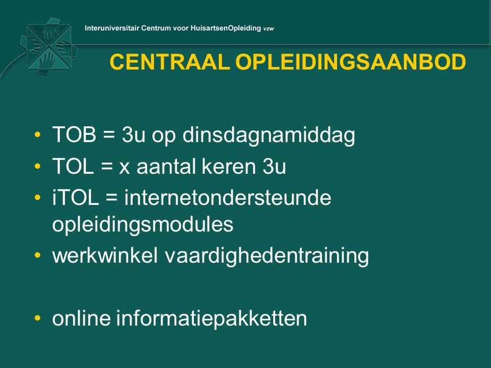 CENTRAAL OPLEIDINGSAANBOD TOB = 3u op dinsdagnamiddag TOL = x aantal keren 3u iTOL = internetondersteunde opleidingsmodules werkwinkel vaardighedentraining online informatiepakketten
