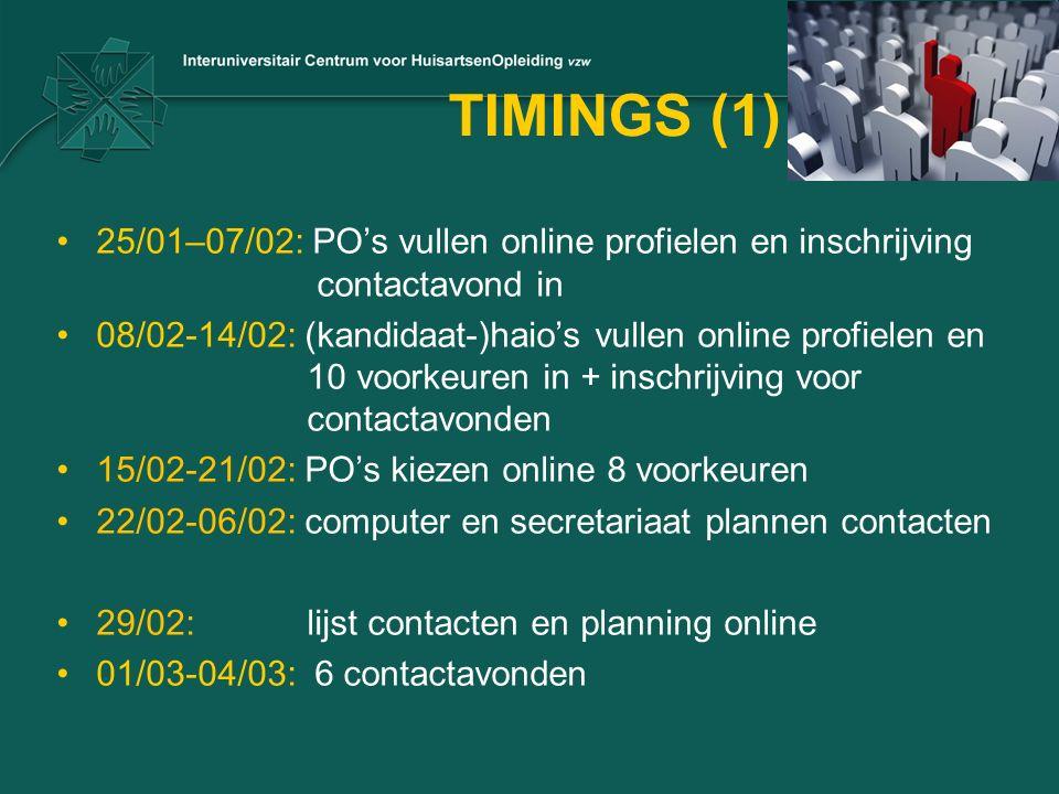 TIMINGS (1) 25/01–07/02: PO's vullen online profielen en inschrijving contactavond in 08/02-14/02: (kandidaat-)haio's vullen online profielen en 10 voorkeuren in + inschrijving voor contactavonden 15/02-21/02: PO's kiezen online 8 voorkeuren 22/02-06/02: computer en secretariaat plannen contacten 29/02: lijst contacten en planning online 01/03-04/03: 6 contactavonden