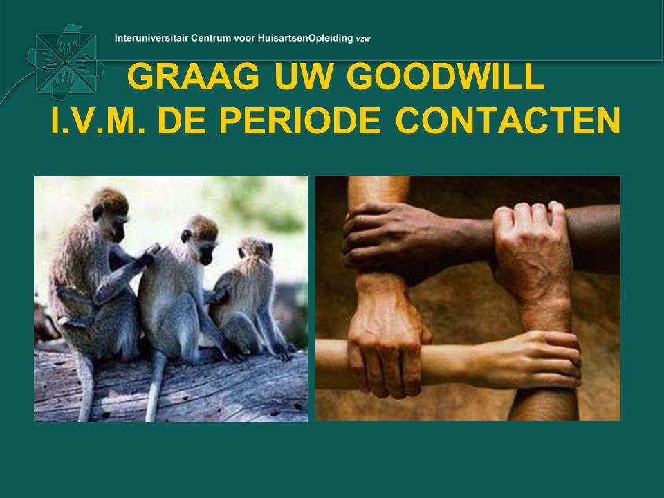 GRAAG UW GOODWILL I.V.M. DE PERIODE CONTACTEN