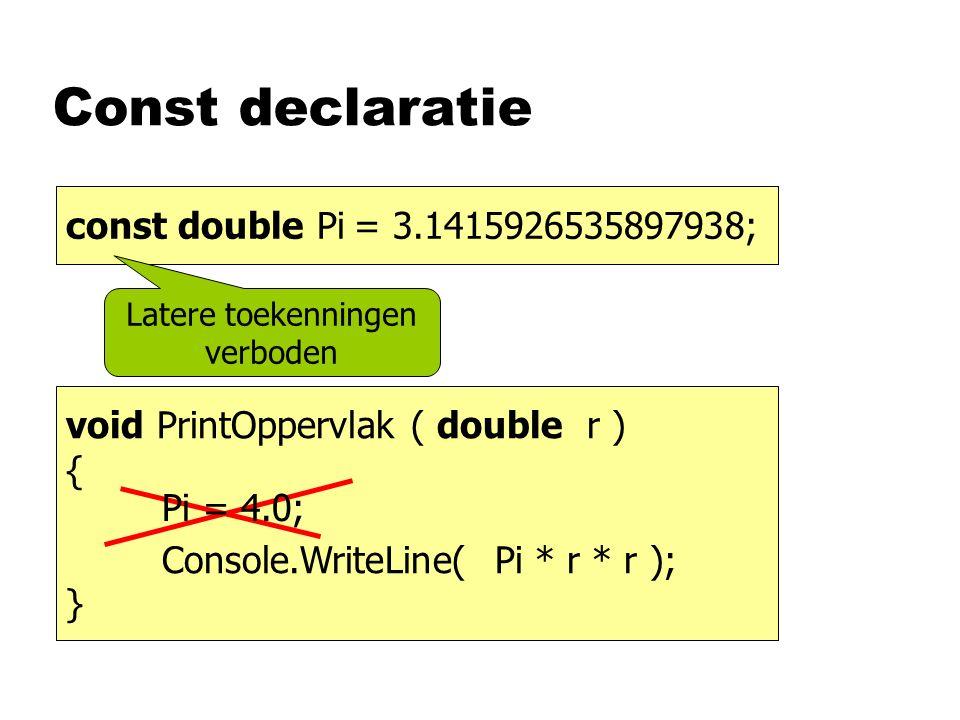 Const declaratie double pi= 3.1415926535897938; void PrintOppervlak ( double r ) { Console.WriteLine( Pi * r * r ); } const double Pi= 3.1415926535897938; Pi = 4.0; Latere toekenningen verboden