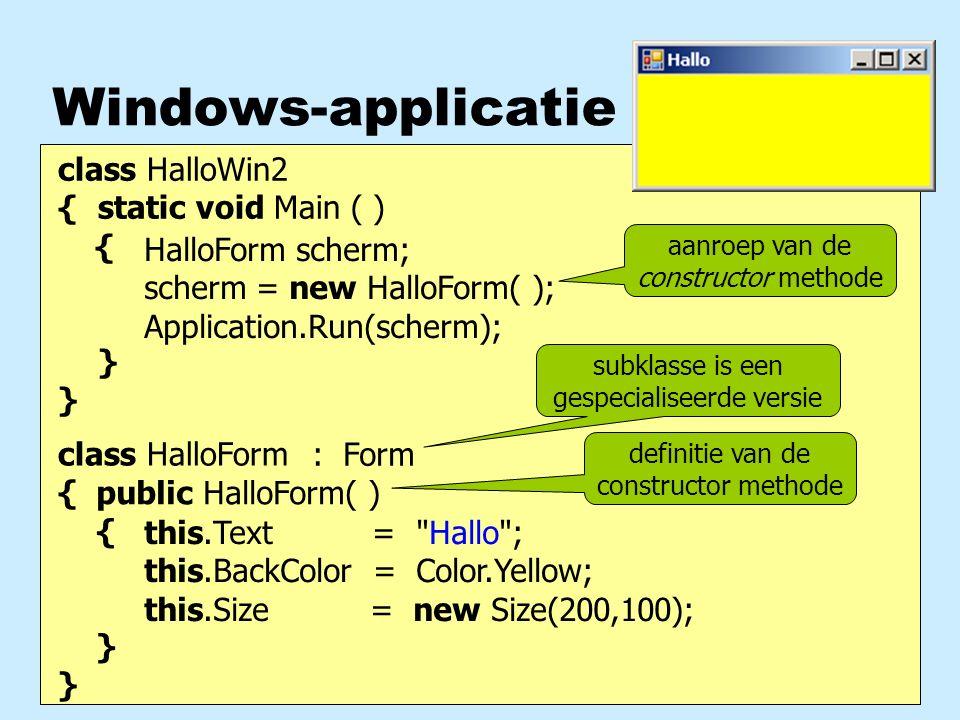 Methoden bewerken een object gr.DrawLine ( pen, 10, 10, 30, 30) ; scherm.Controls.