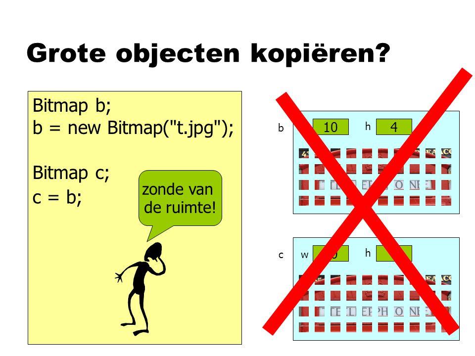 Grote objecten kopiëren? Bitmap b; b = new Bitmap(