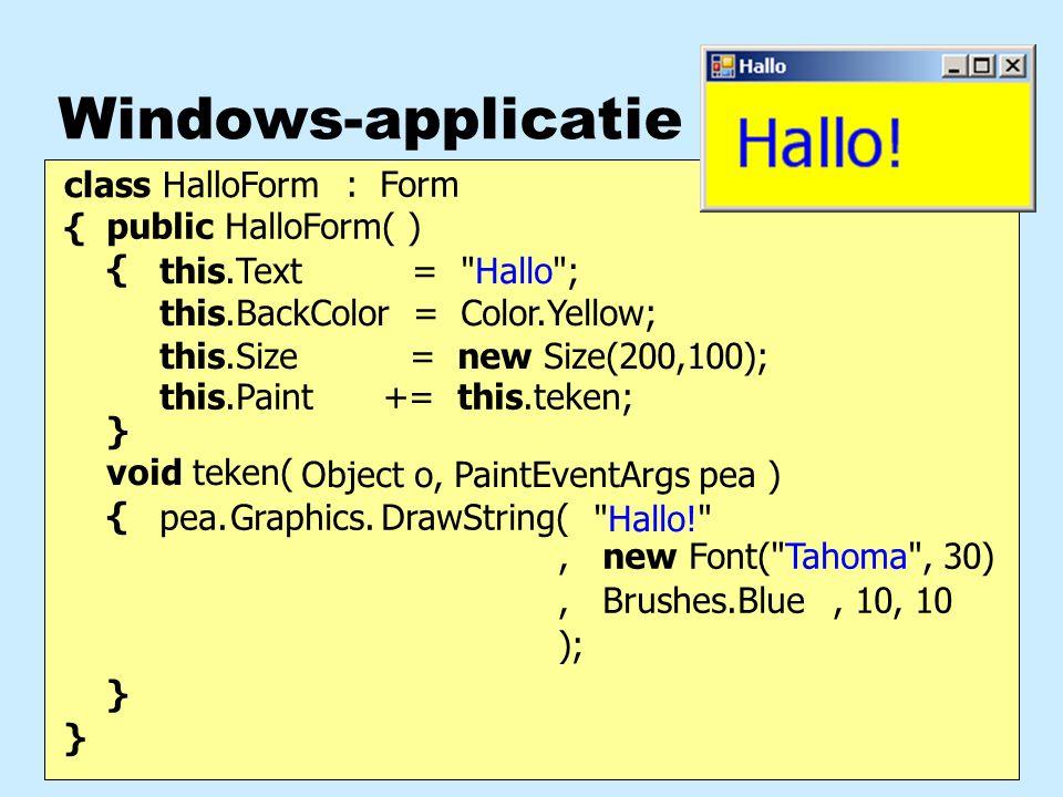 Methode-aanroep methoden uit de klasse Graphics void TekenScherm(object o, PaintEventArgs pea) { Graphics gr; gr = pea.Graphics; gr.