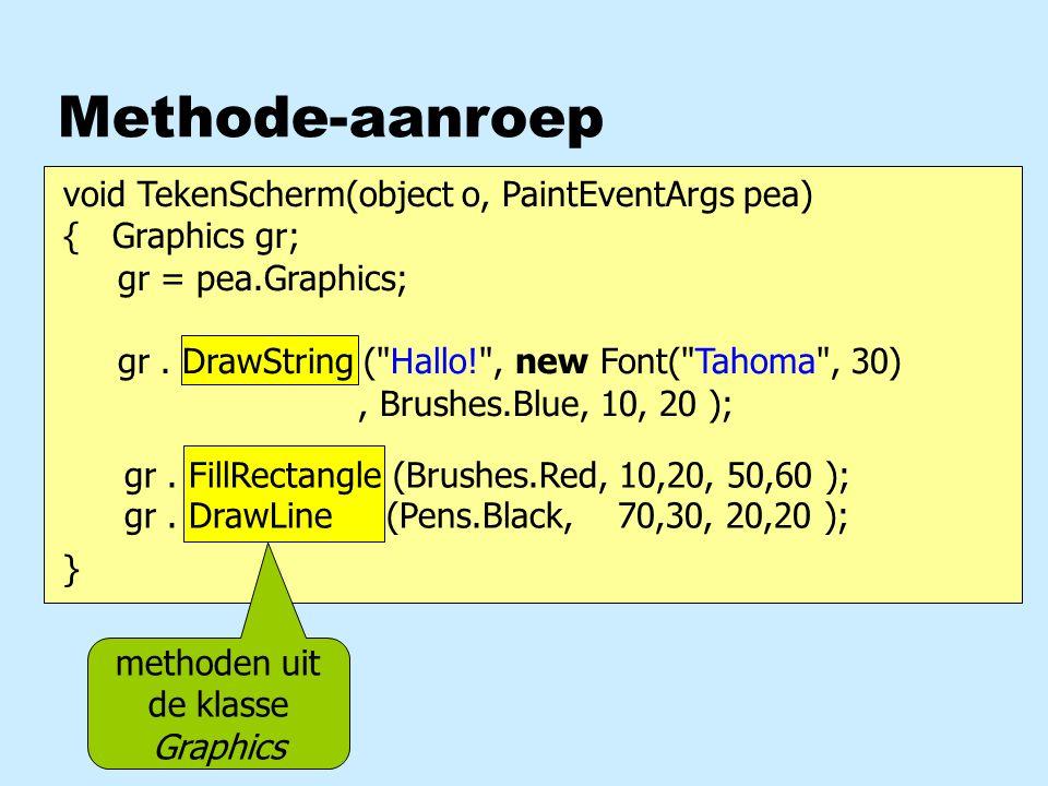 Klassen en objecten nKlasse beschrijft mogelijkheden van object umethoden uproperties methode uit de klasse Graphics van object gr Graphics gr; gr = pea.Graphics; gr.
