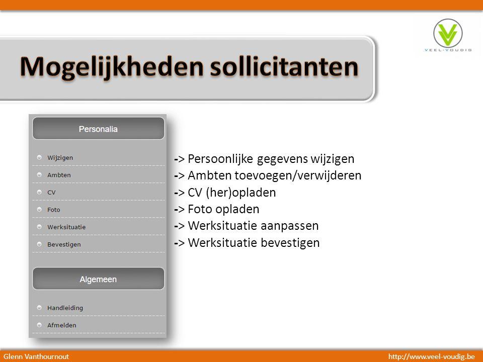 -> Persoonlijke gegevens wijzigen -> Ambten toevoegen/verwijderen -> CV (her)opladen -> Foto opladen -> Werksituatie aanpassen -> Werksituatie bevestigen Glenn Vanthournouthttp://www.veel-voudig.be