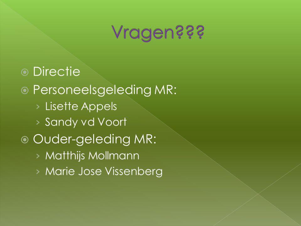  Directie  Personeelsgeleding MR: › Lisette Appels › Sandy vd Voort  Ouder-geleding MR: › Matthijs Mollmann › Marie Jose Vissenberg
