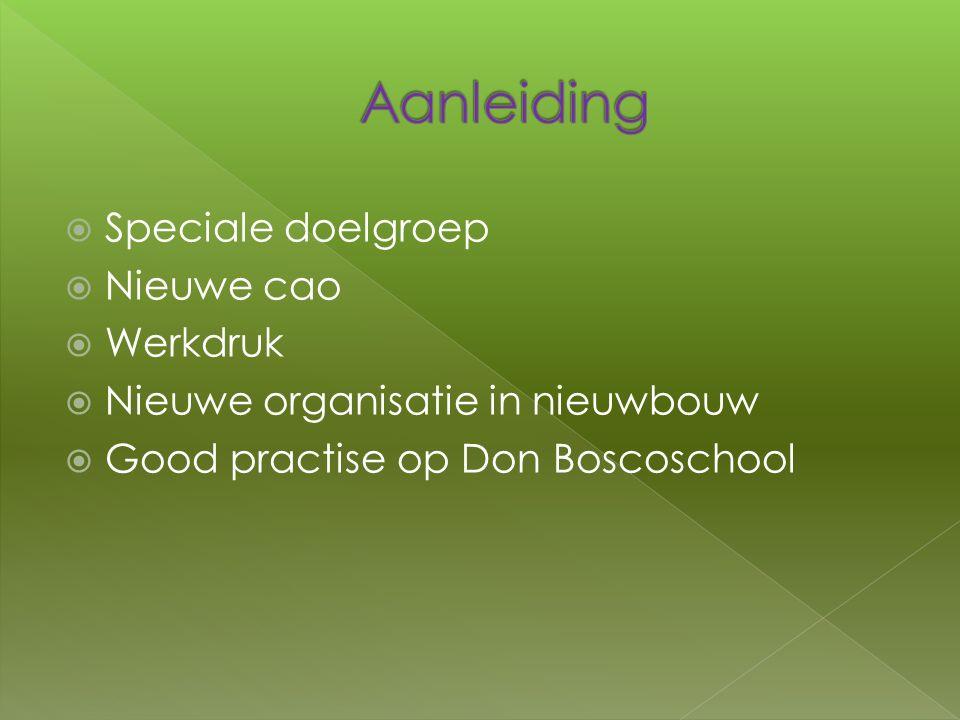  Speciale doelgroep  Nieuwe cao  Werkdruk  Nieuwe organisatie in nieuwbouw  Good practise op Don Boscoschool