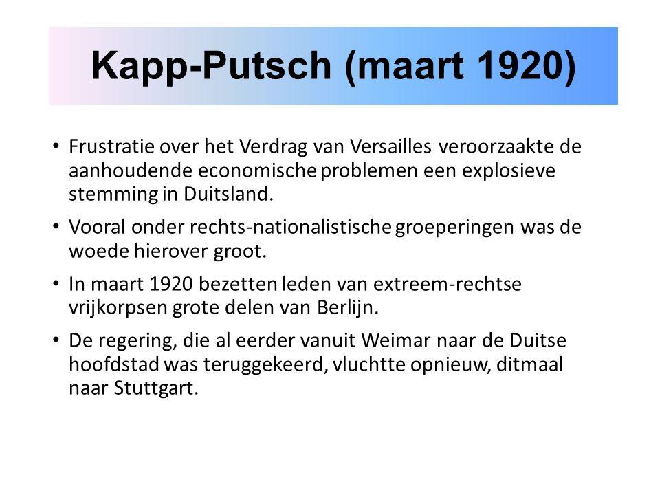 Frustratie over het Verdrag van Versailles veroorzaakte de aanhoudende economische problemen een explosieve stemming in Duitsland.