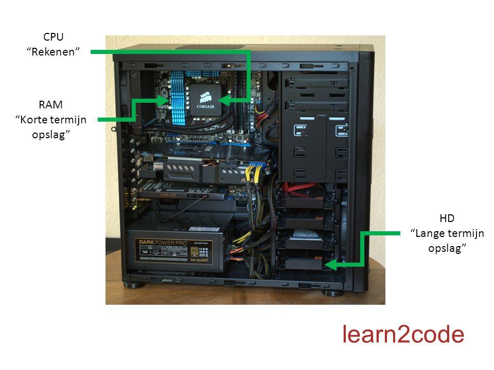 """CPU """"Rekenen"""" HD """"Lange termijn opslag"""" RAM """"Korte termijn opslag"""""""