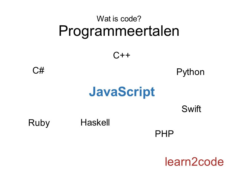 Wat is code? Programmeertalen learn2code Python C# Haskell Ruby C++ PHP Swift JavaScript