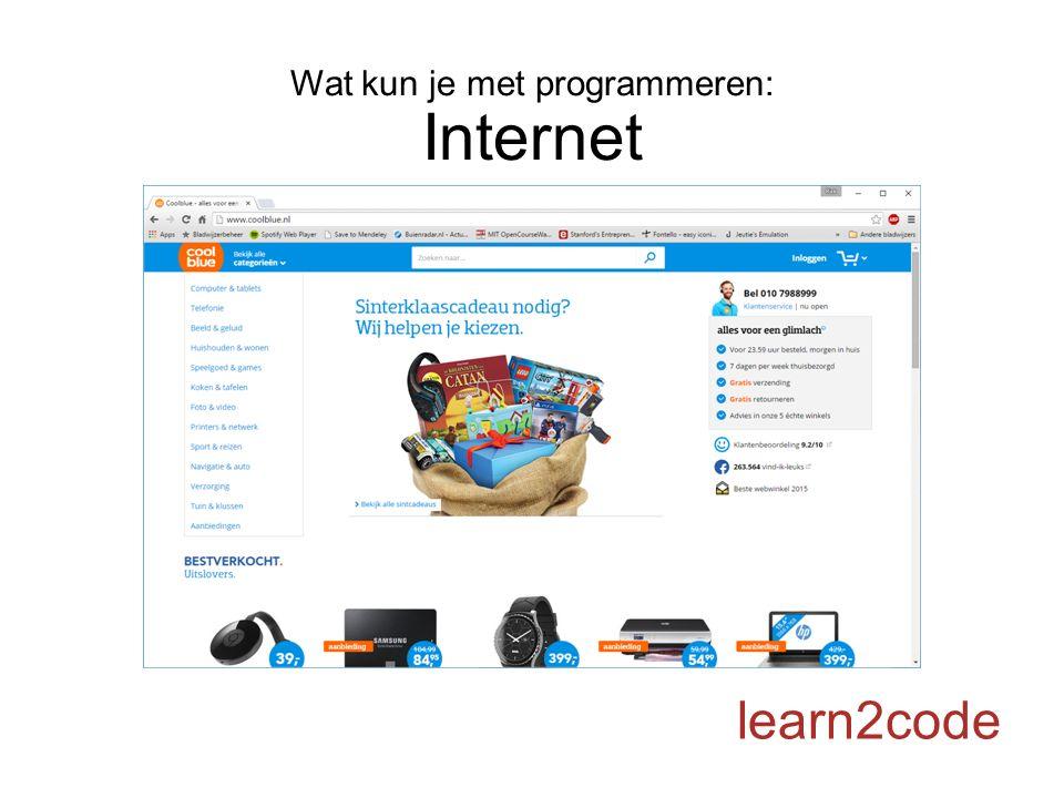 Wat kun je met programmeren: Internet learn2code