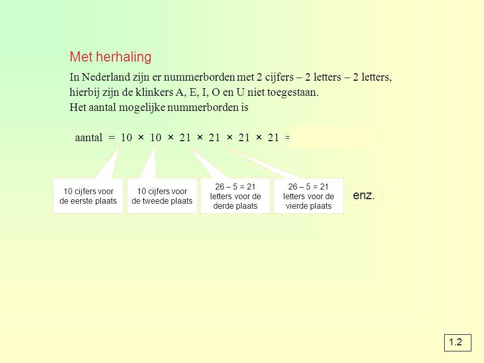 Met herhaling In Nederland zijn er nummerborden met 2 cijfers – 2 letters – 2 letters, hierbij zijn de klinkers A, E, I, O en U niet toegestaan.