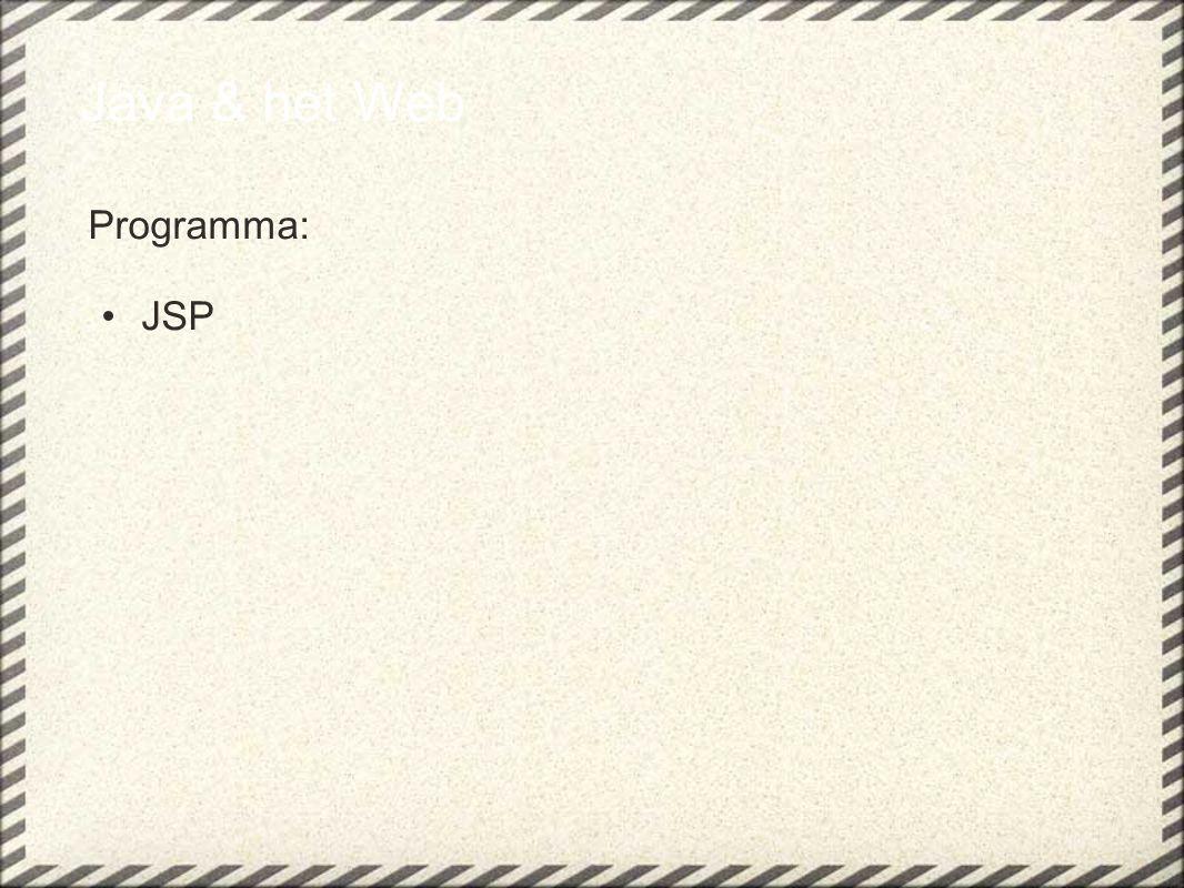 JSP....attributen(1) Het zetten en vinden van attributen in de verschillende scopes in een JSP gaat als volgt: Zet in page scope: of Haal uit page scope: of <% pageContext.getAttribute( getal , PageContext.PAGE_SCOPE);