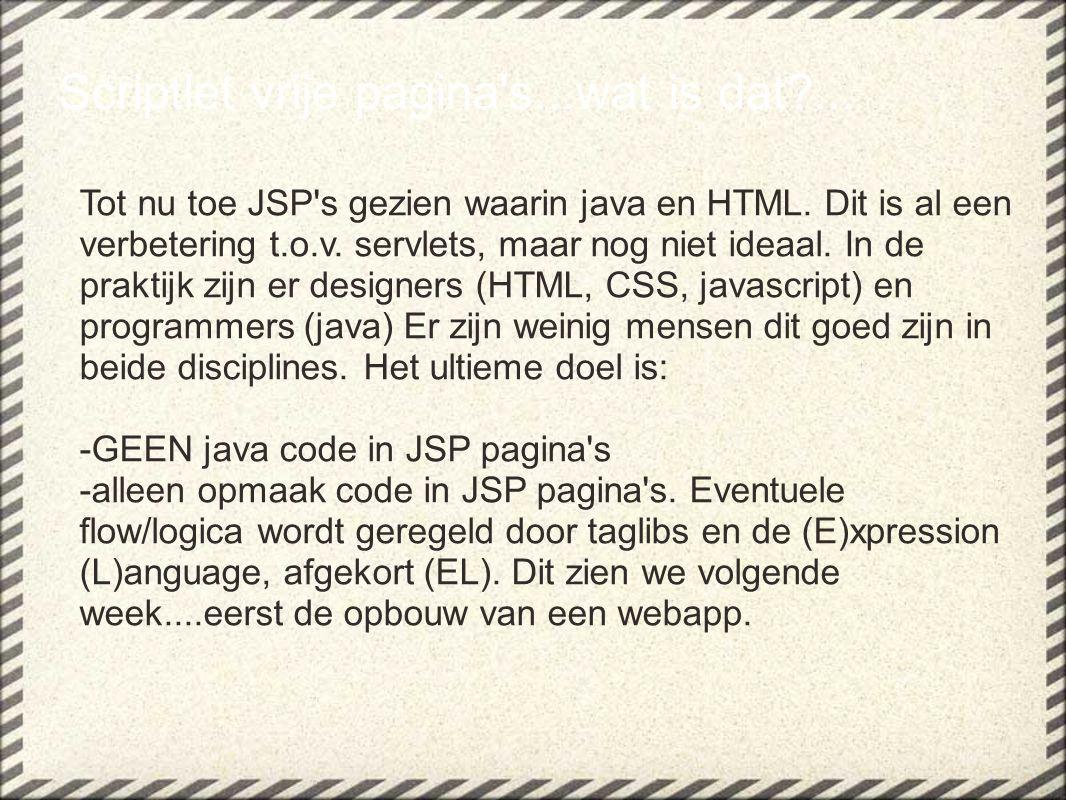 Scriptlet vrije pagina s...wat is dat ... Tot nu toe JSP s gezien waarin java en HTML.