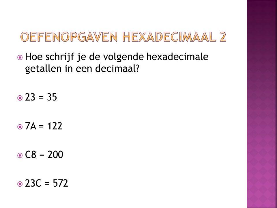  Hoe schrijf je de volgende hexadecimale getallen in een decimaal?  23 = 35  7A = 122  C8 = 200  23C = 572