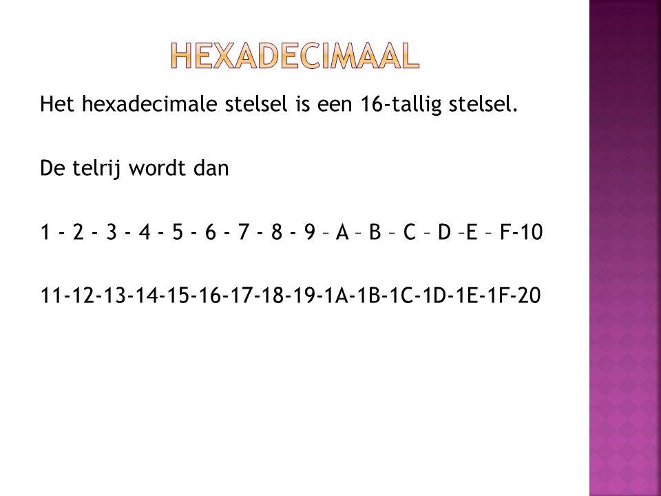 Het hexadecimale stelsel is een 16-tallig stelsel. De telrij wordt dan 1 - 2 - 3 - 4 - 5 - 6 - 7 - 8 - 9 – A – B – C – D –E – F-10 11-12-13-14-15-16-1