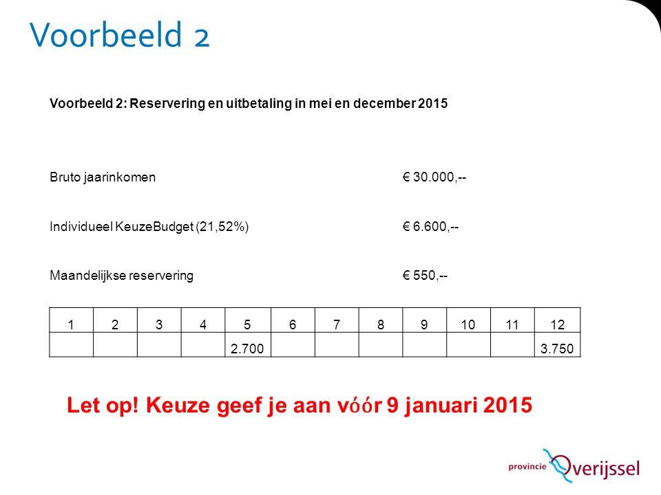 Voorbeeld 2 Voorbeeld 2: Reservering en uitbetaling in mei en december 2015 Bruto jaarinkomen€ 30.000,-- Individueel KeuzeBudget (21,52%)€ 6.600,-- Ma