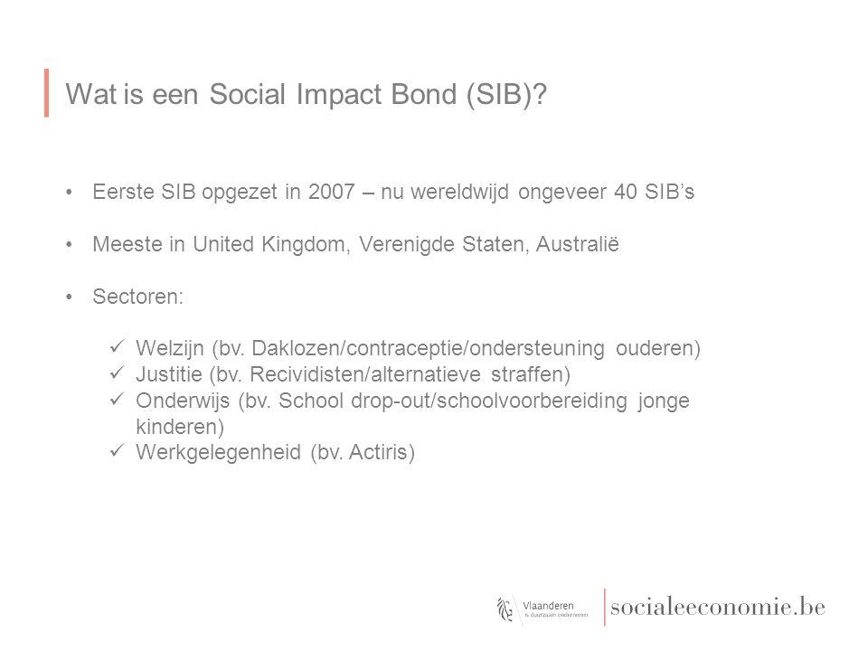 Wat is een Social Impact Bond (SIB)? Eerste SIB opgezet in 2007 – nu wereldwijd ongeveer 40 SIB's Meeste in United Kingdom, Verenigde Staten, Australi