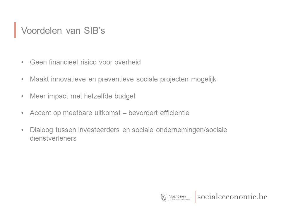Voordelen van SIB's Geen financieel risico voor overheid Maakt innovatieve en preventieve sociale projecten mogelijk Meer impact met hetzelfde budget Accent op meetbare uitkomst – bevordert efficientie Dialoog tussen investeerders en sociale ondernemingen/sociale dienstverleners