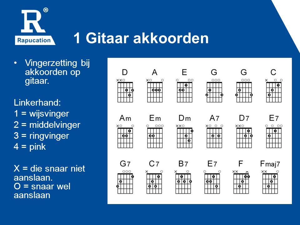 1 Gitaar akkoorden Vingerzetting bij akkoorden op gitaar.