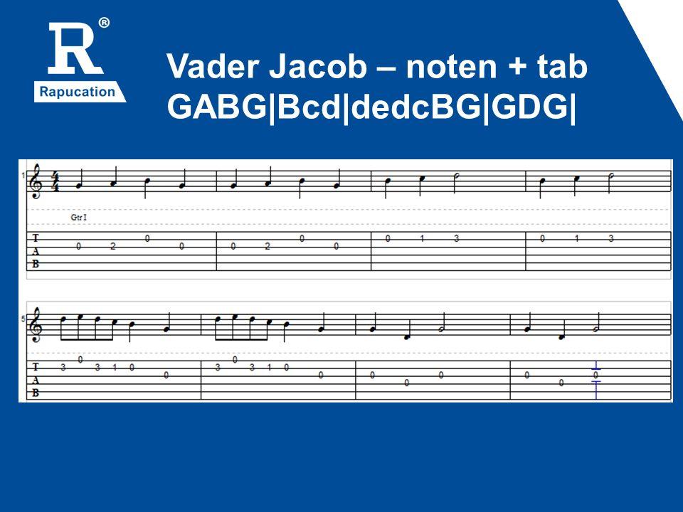 Vader Jacob – noten + tab GABG Bcd dedcBG GDG 