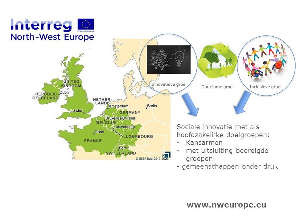 Sociale innovatie met als hoofdzakelijke doelgroepen: -Kansarmen -met uitsluiting bedreigde groepen - gemeenschappen onder druk www.nweurope.eu