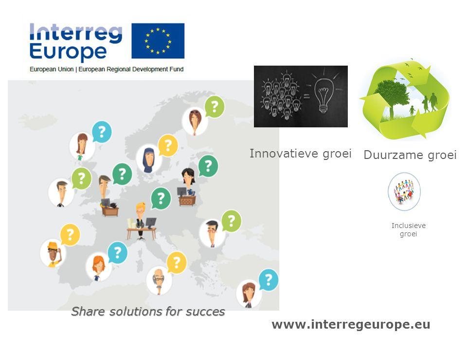 www.interregeurope.eu Inclusieve groei Duurzame groei Innovatieve groei Share solutions for succes