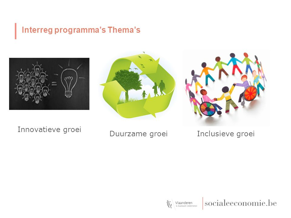 Duurzame groei Innovatieve groei Inclusieve groei Interreg programma's Thema's