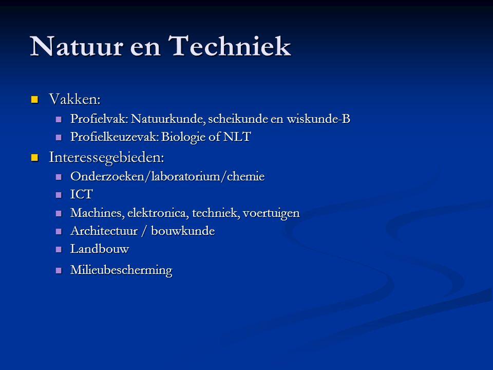 Natuur en Techniek Vakken: Vakken: Profielvak: Natuurkunde, scheikunde en wiskunde-B Profielvak: Natuurkunde, scheikunde en wiskunde-B Profielkeuzevak