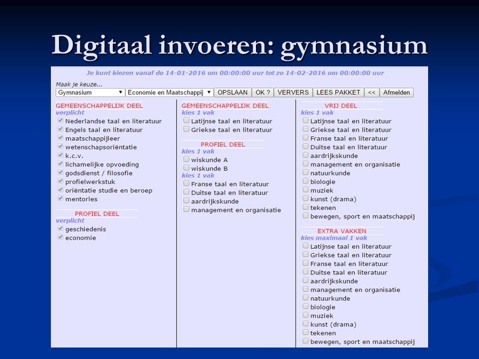 Digitaal invoeren: gymnasium