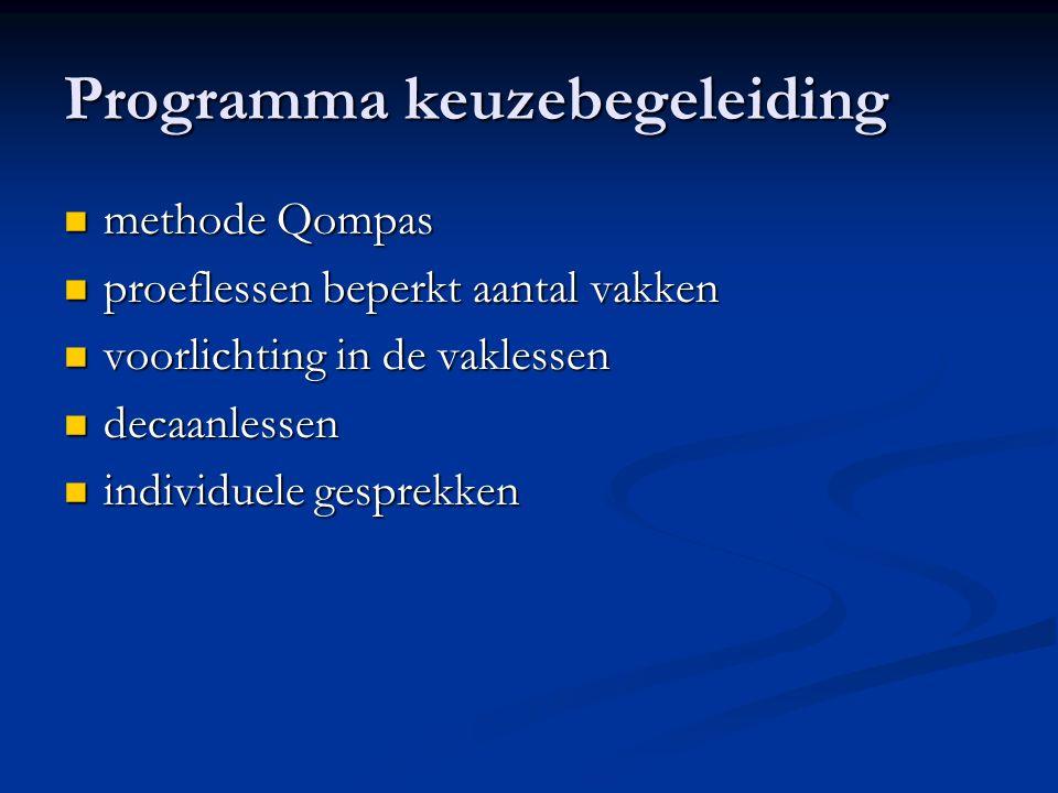 Programma keuzebegeleiding methode Qompas methode Qompas proeflessen beperkt aantal vakken proeflessen beperkt aantal vakken voorlichting in de vaklessen voorlichting in de vaklessen decaanlessen decaanlessen individuele gesprekken individuele gesprekken